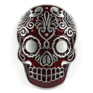 Inlaid Red Or Black Skull Belt Buckle  Solid Metal